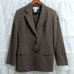 CASUAL CORNER 3 Button Wool Blend Tweed Blazer